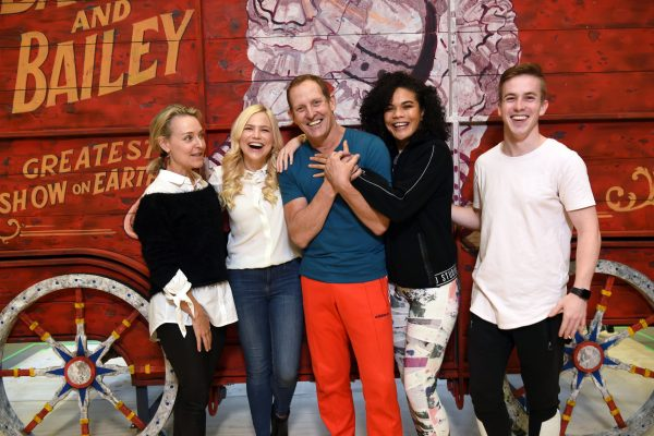 Rachael Beck, Suzie Mathers, Todd McKenney, Akina Edmonds and Joshua Reckless taking a break in rehearsals
